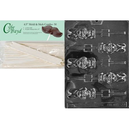 - Cybrtrayd Chunky Bunny Lolly Easter Chocolate Candy Mold with 50 4.5-Inch Lollipop Sticks