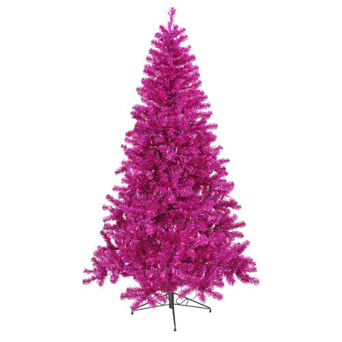 Vickerman 8' Fuchsia Artificial Christmas Tree with 600 Purple Mini Lights with Stand