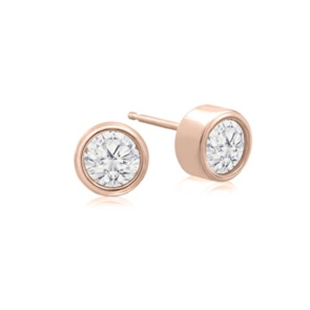 1/2 Carat Bezel Set Diamond Stud Earrings Crafted In 14 Karat Rose Gold
