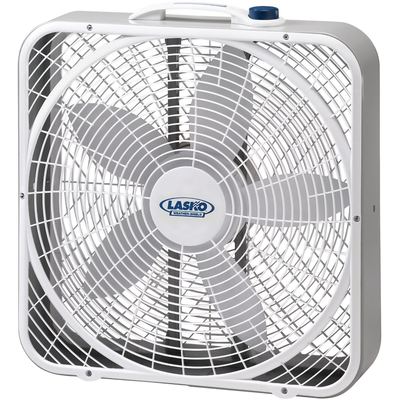 """Lasko 20"""" Weather-Shield Performance Box Fan in Gray/White"""