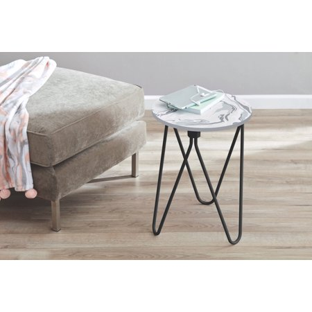 Mainstays Accent Table, Marble - Maple Contemporary Night Table