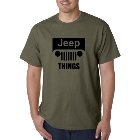 Trendy USA 740 - Unisex T-Shirt Jeep Things Wrangler Grille XL Military (2013 Jeep Wrangler Commando Green For Sale)