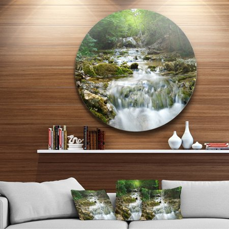 DESIGN ART Designart 'Natural Spring Waterfall' Landscape Photo Large Disc Metal Wall art