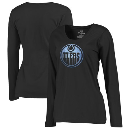 Edmonton Oilers Fanatics Branded Women's Plus Sizes Pond Hockey Long Sleeve T-Shirt - Black