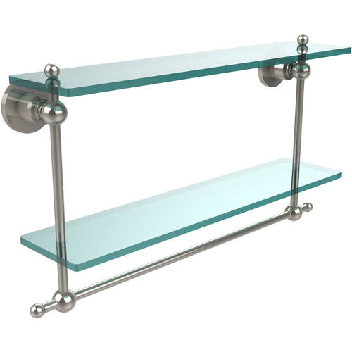 "Astor Place Collection 22"" 2-Tiered Glass Shelf with Integrated Towel Bar (Build to Order)"