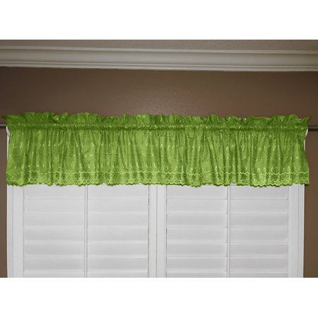 cotton eyelet window valance 58 wide lime
