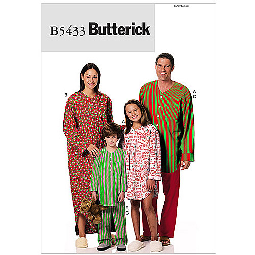 Butterick Pattern Misses' and Men's Nightshirt (S, M, L, XL)