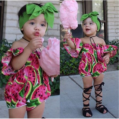 7e0530c7aac4 Newborn Baby Girls Watermelon Off Shoulder Romper Jumpsuit Playsuit Outfits  0-2T - Walmart.com