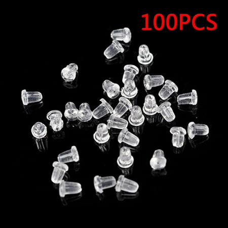 Christmas Clearance 100 Pcs Plastic Earring Safety Back Stopper Replacement for Fish Hook Earring