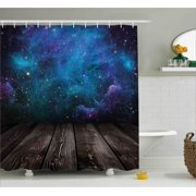 Galaxy Shower Curtain Outer Space View From Rustic Wooden Deck Of Blue Nebula Stars Magical