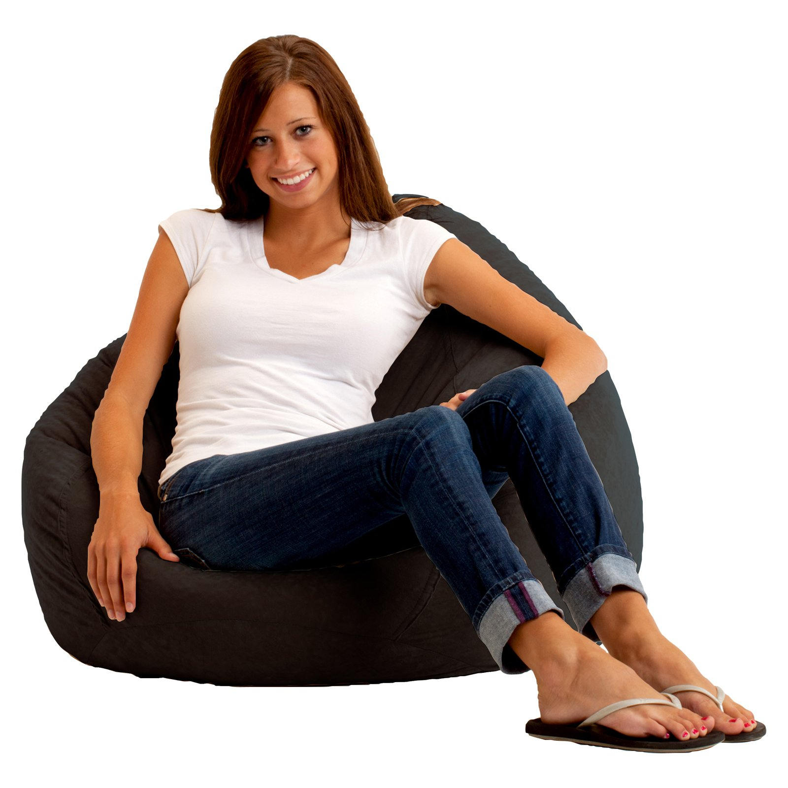 "The Big Bag Comfort Suede 132"" Bean Bag, Black Onyx"