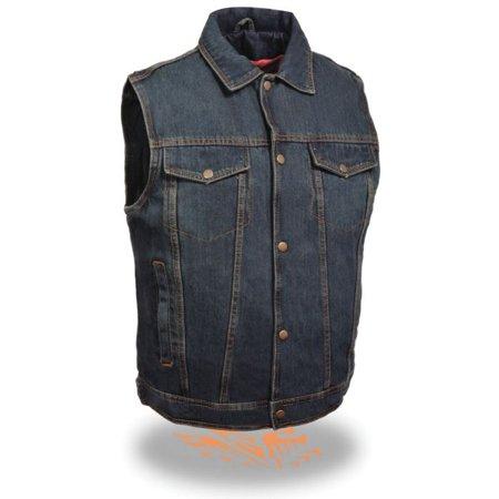 Milwaukee Mens Snap Front Denim Vest w/Shirt Collar Blue