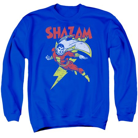 Flash Shazam Let's Fly DC Comics Distressed Adult Crewneck Sweatshirt
