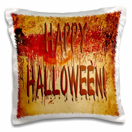 3dRose Bloody Happy Halloween on Blood Stained Wall - Pillow Case, 16 by 16-inch - Halloween Blood Stains