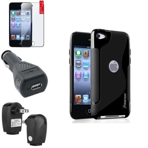Insten Black S Shape Case+Protector+Car+Travel Charger Adapter For Apple iPod Touch 4 4th 4G