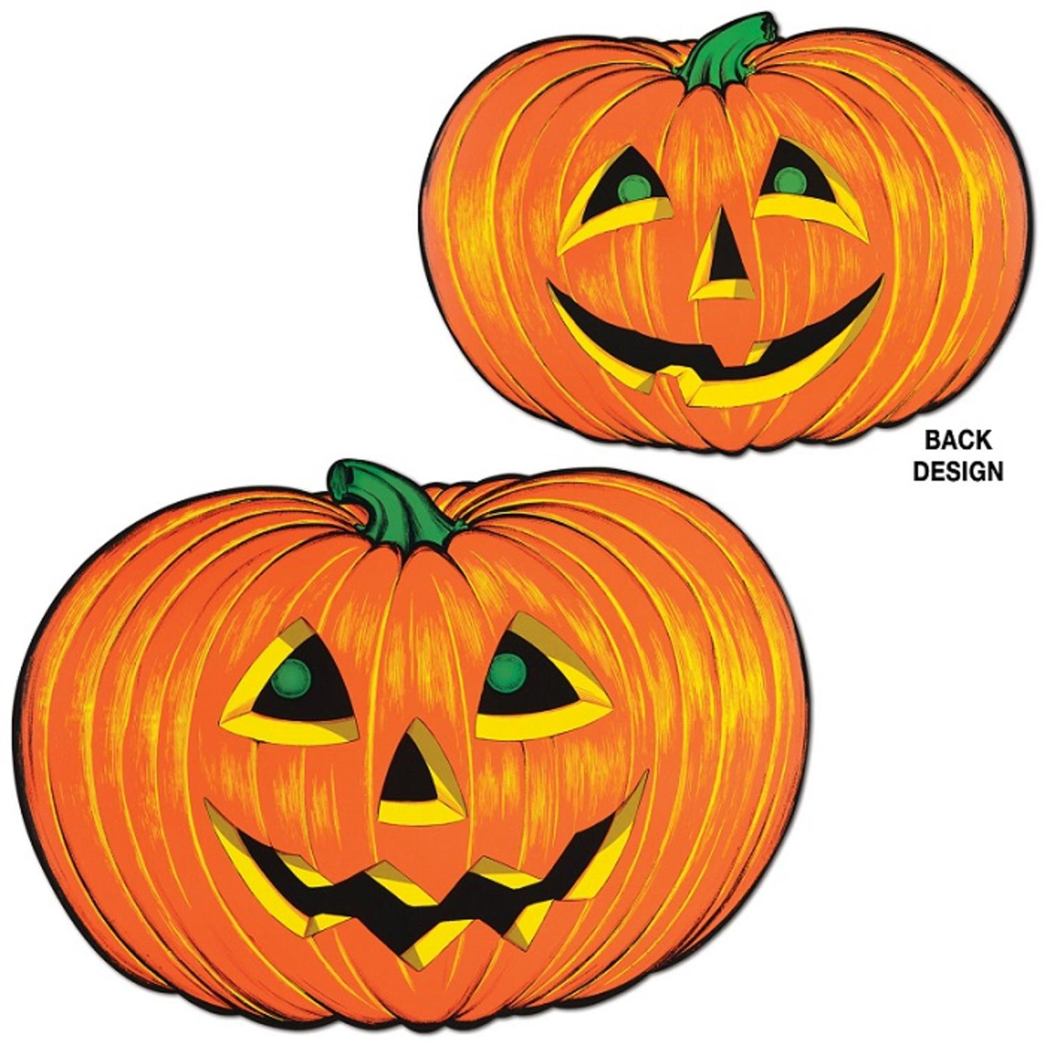 Club Pack of 12 Cute Jack-O-Lantern Faces Cutout Halloween Decorations 25""