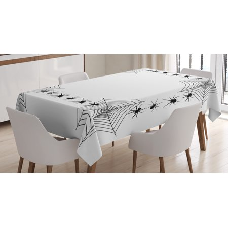 Spider Web Tablecloth, Creepy Framework with Arachnid Venom Poison Trap Cartoon Style Monochrome Print, Rectangular Table Cover for Dining Room Kitchen, 60 X 90 Inches, Black White, by Ambesonne](Spider Web Tablecloth)