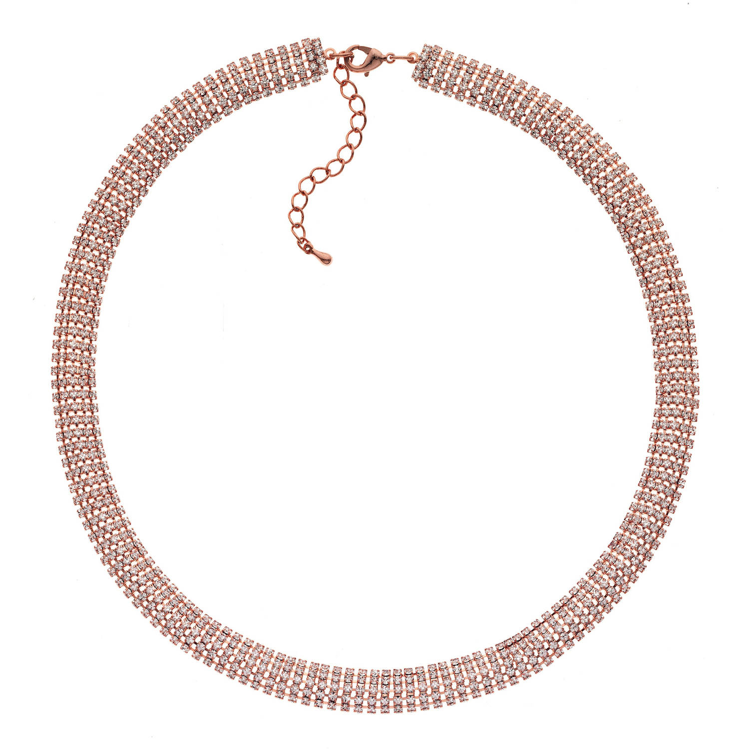 X & O Handset Austrian Crystal 14kt Rose Gold-Plated 10mm Snake Chain Necklace