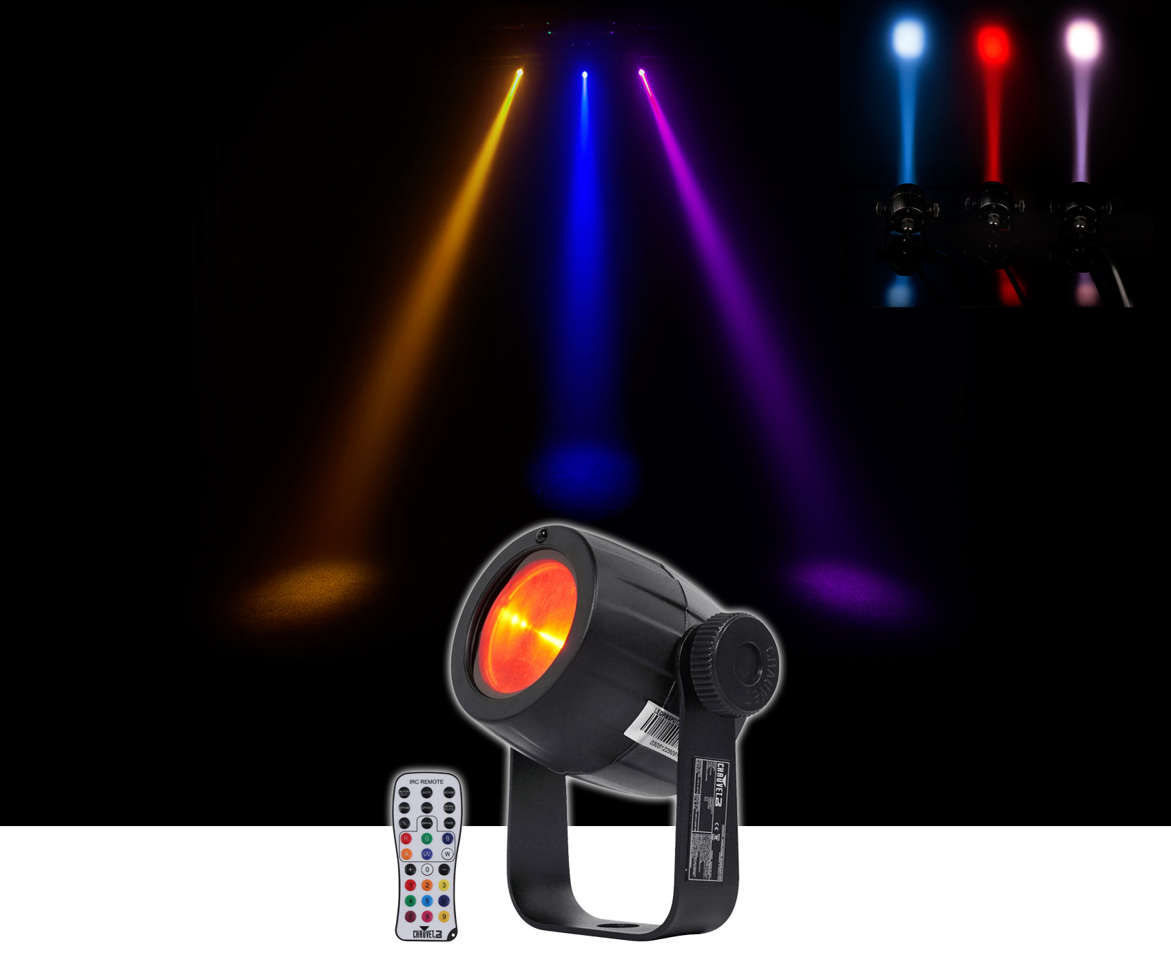 Chauvet DJ LED Pinspot 3 Club Mirror Ball Spot Light w Dimmer+Gel Pack+Remote by CHAUVET