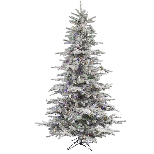 The Holiday Aisle 10' Flocked Sierra Fir Artificial Christmas Tree with 1450 LED Multi Colored Lights with Stand