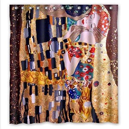 DEYOU Best The Kiss By Gustav Klimt Shower Curtain Polyester Fabric Bathroom Size 66x72