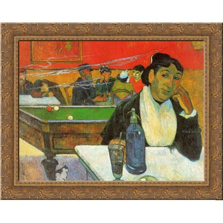 - NIght Cafe in Arles (Madame Ginoux) 24x20 Gold Ornate Wood Framed Canvas Art by Paul Gauguin