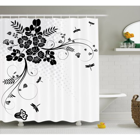 Dragonfly Shower Curtain Floral Ornament With Fern Plants Leaves Nature Themed Stylized Illustration Fabric Bathroom Set Hooks Black White