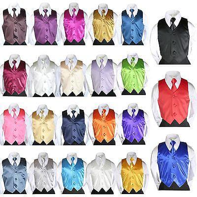 Belle Vest - 23 colors 2 pc Set Satin Vest Long Necktie Kids Child Teen Formal Boys Suit 8-20