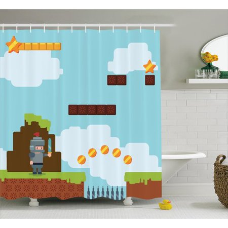 Zoomie Kids Shannon Games Arcade Knight 90's Shower Curtain