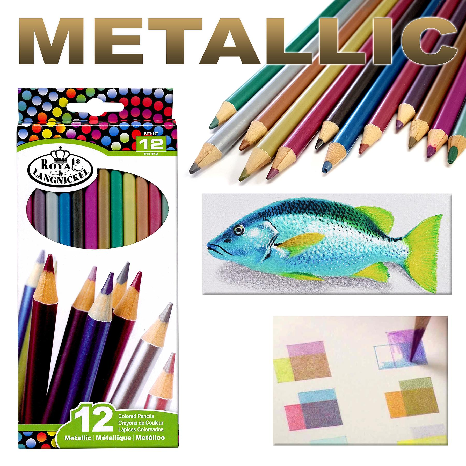 Royal Langnickel Metallic Colored Pencils, 12 Count