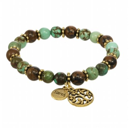 Red Water Designs Eb 05 C Earth Element Stretch Beaded Gemstone Bracelet With A Tree Of Life Charm Dollar