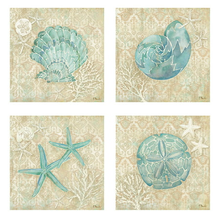 - 4 Lovely Teal and Brown Ocean Seashell Sand Dollar and Star Fish Collage Poster Prints; Nautical Decor; Four 12X12 Poster Prints