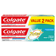 Colgate Total Toothpaste for Fresh Breath with Fluoride, Multi Benefit Toothpaste, Fresh Mint Stripe Gel, 4.8 Oz, 2 Ct