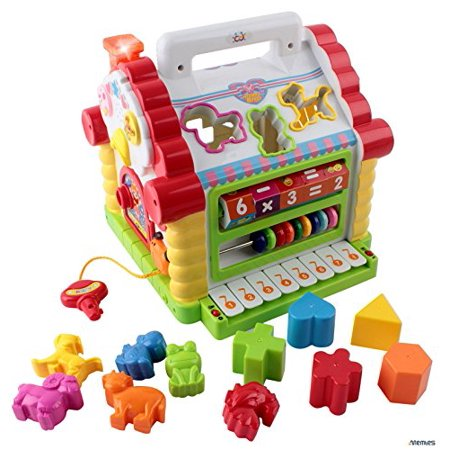 Memtes Musical Activity Cube Educational Play Center Toy, Shape Sorter Toy with Tons of Functions & Skills - Great Gift Toys for 1 Year Old (Toys For A 2 Year Old)