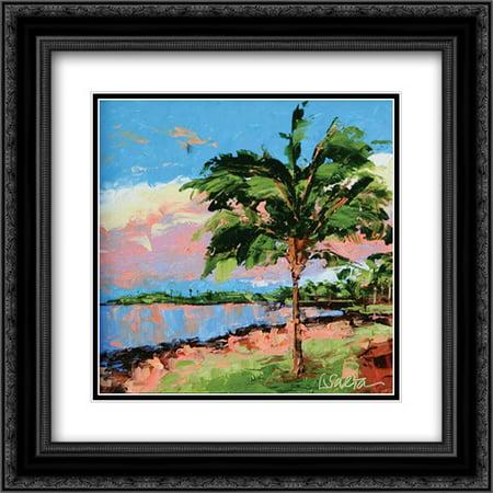 Nib Matt (Hawaiin Sunset Reflections 2x Matted 20x20 Black Ornate Framed Art Print by Saeta,)