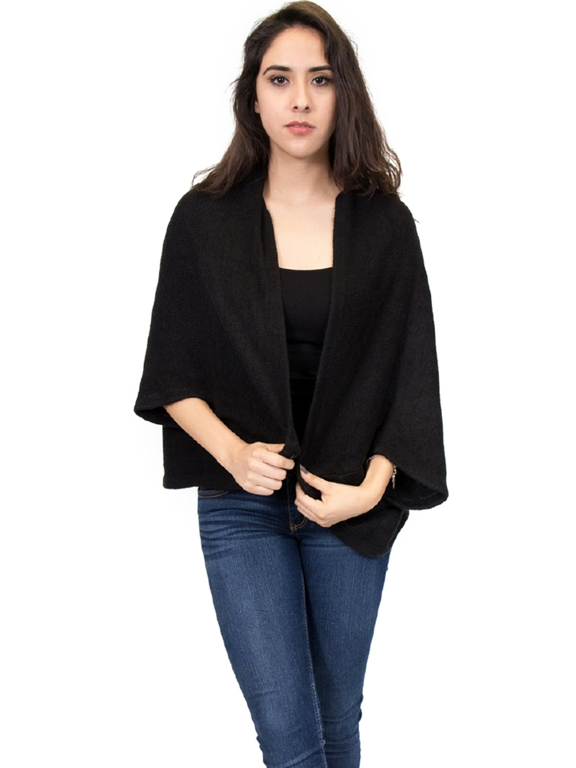 Zodaca Fashion Women Ladies Casual Oversized Knitted Sleeve Cardigan to Hip Length Poncho for Women Black by Overstock