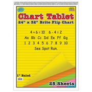 """Top Notch Teacher Products Brite Chart Tablet, 1"""" Ruled, Assorted Colors, 24"""" x 32"""", 25 Sheets"""