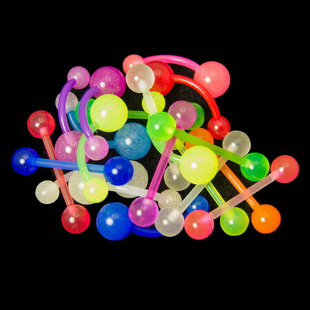 20 Glow In The Dark Belly And Tongue Rings 14g Flexible 7