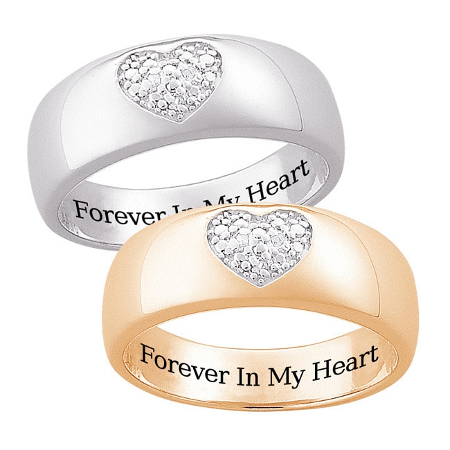 MBM Sterling Silver or 14k Gold Over Silver Engraved 'Forever in My Heart' Diamond Ring