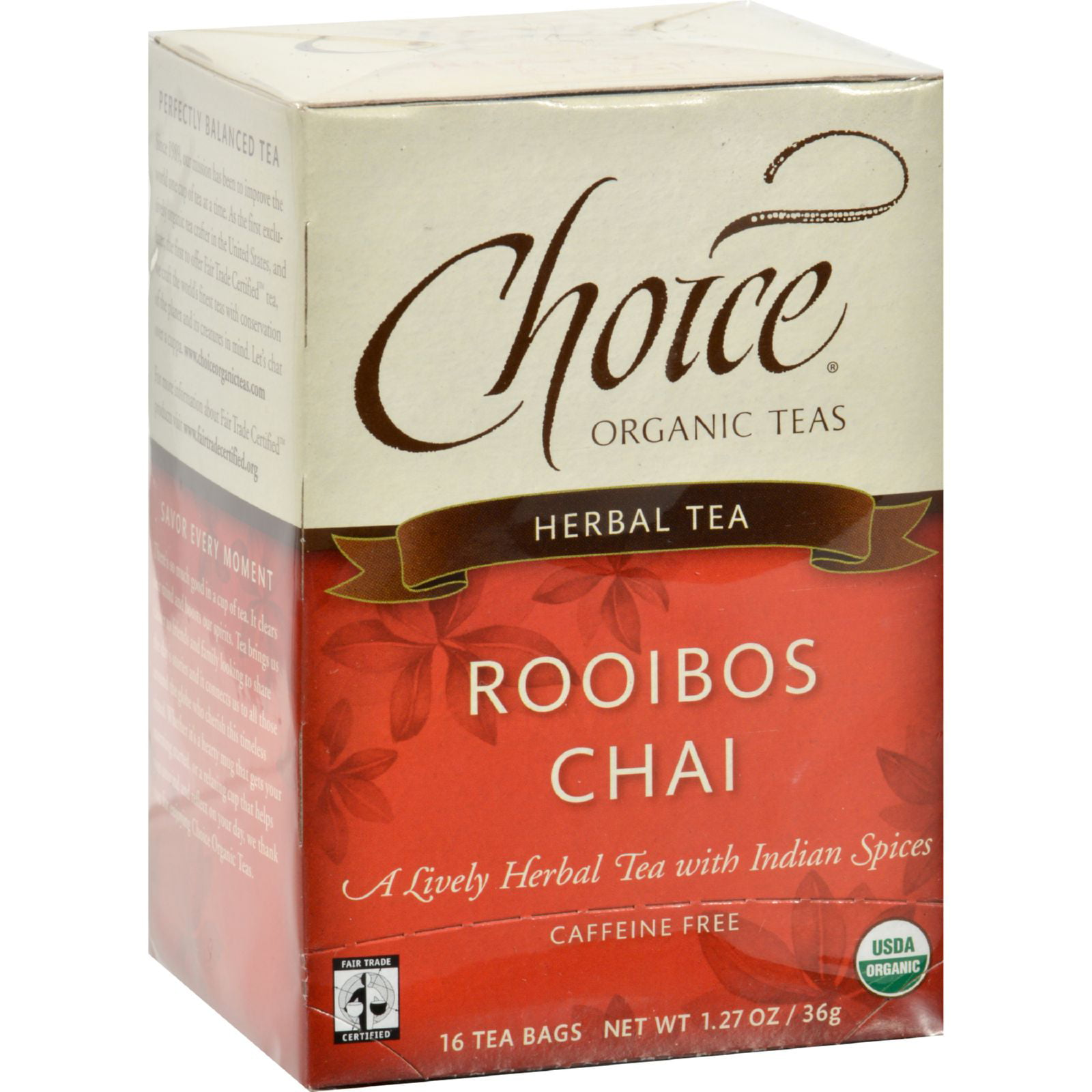 Choice Organic Teas Herbal Tea Rooibos Chai Caffeine Free Case of 6 16 Bags by U-Nutra