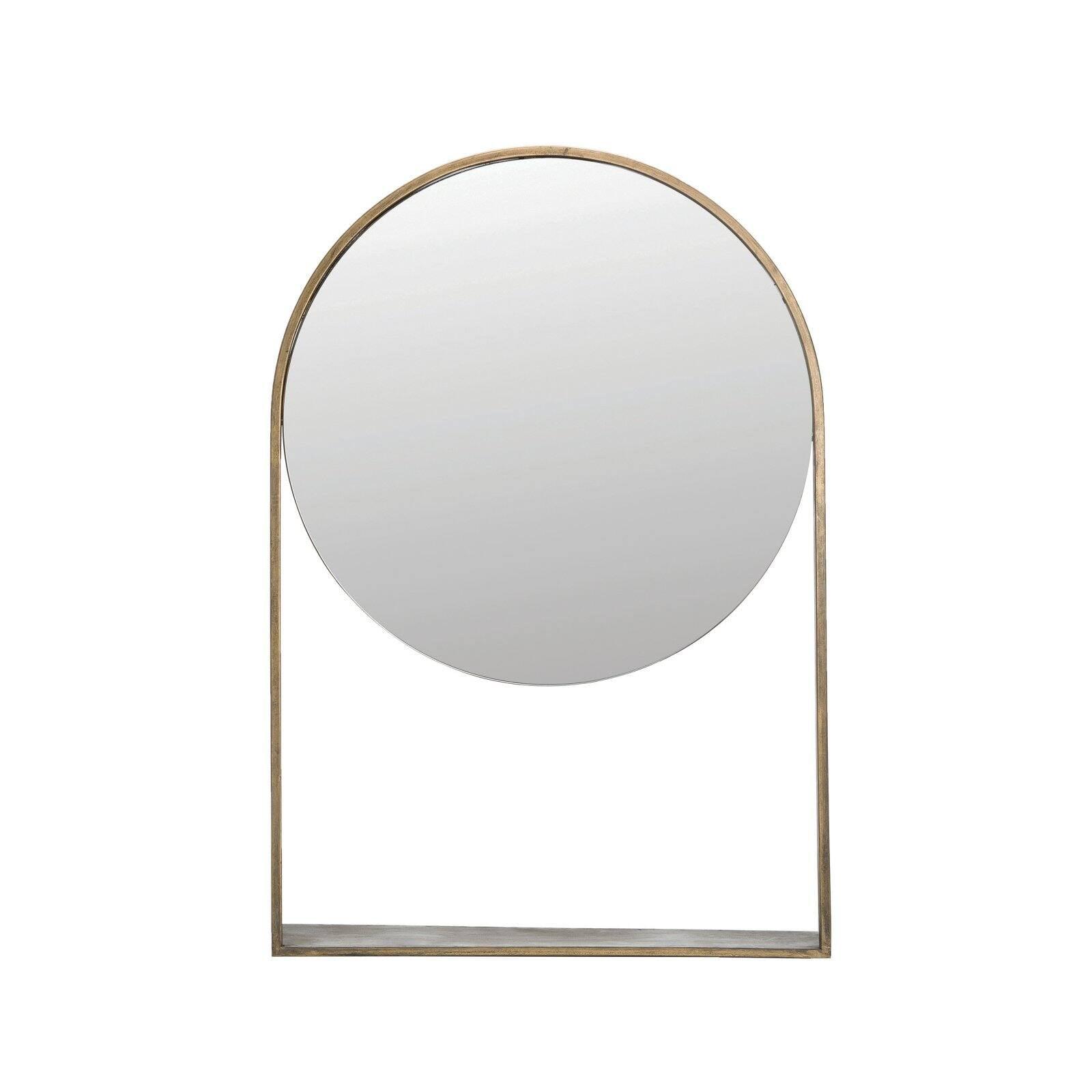 3r Studios Distressed Metal Framed Wall Mirror With Shelf Antique Brass 40 5w X 4 75d X 30h In Walmart Com Walmart Com