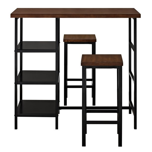 Mainstays 3-Piece Metal Pub Set With Wooden Top, Dark Mahogany
