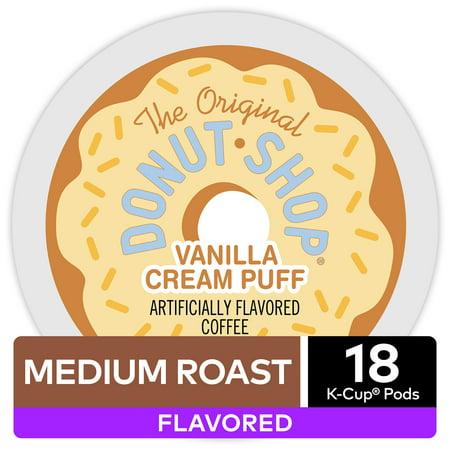 The Original Donut Shop Vanilla Cream Puff, Flavored Coffee Keurig K-Cup Pod, Medium Roast, 18 (Donuts D'halloween)