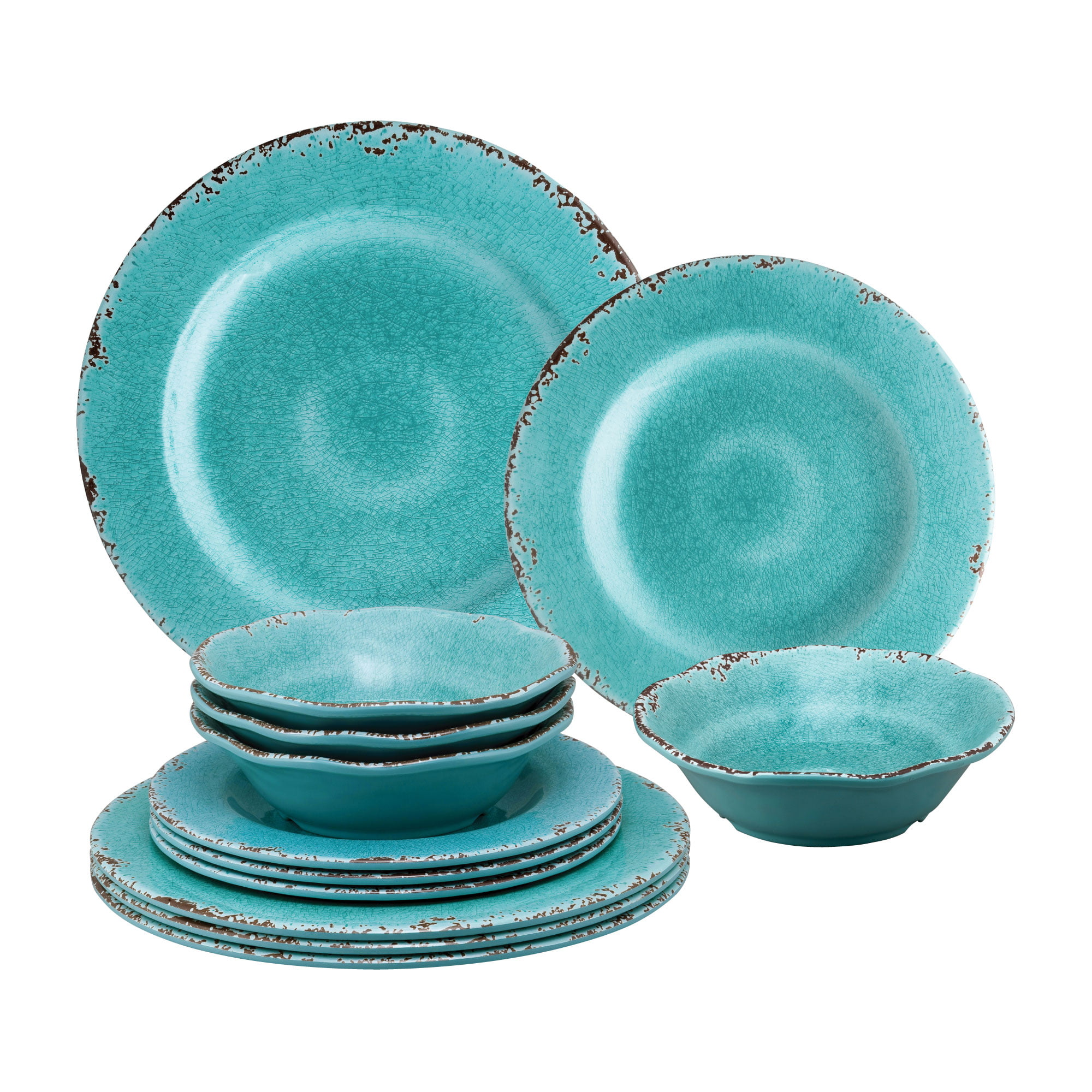 Gourmet Art 12 Piece Crackle Melamine Dinnerware Set Turquoise Service For 4 Includes Dinner Plates Salad Plates And Bowls Walmart Com Walmart Com