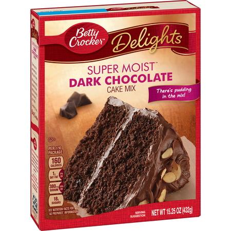 (4 Pack) Betty Crocker Super Moist Dark Chocolate Cake Mix, 15.25 oz