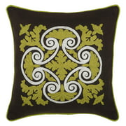 Rizzy Home Embroidered Wrought Iron Scroll and Welt Decorative Accent Pillow in Green