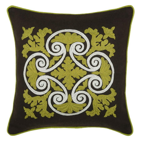 Rizzy Home Embroidered Wrought Iron Scroll and Welt Decorative Accent Pillow in Green ()