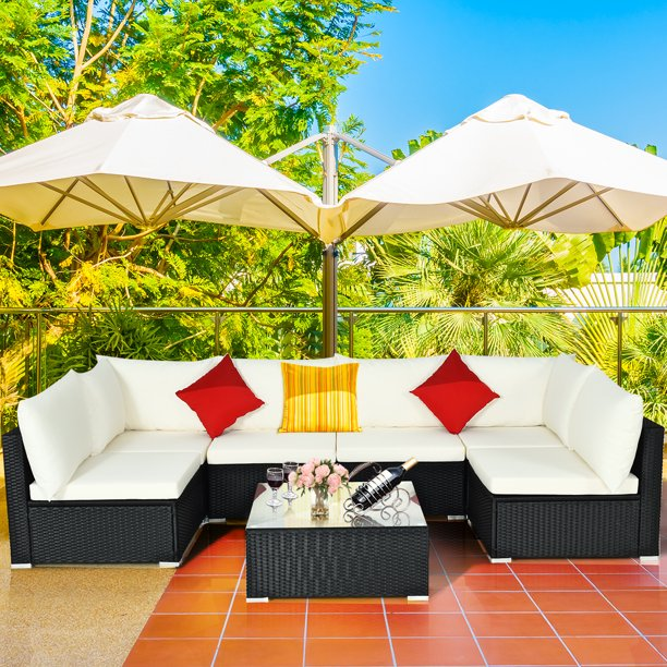Costway 7PC Furniture Sectional PE Rattan Wicker Patio Rattan Sofa Set Couch with White Cushions