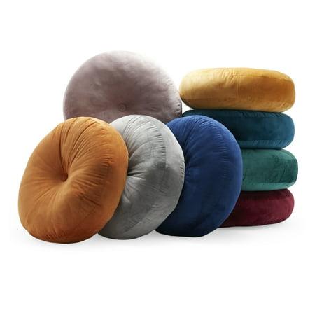 MoDRN Retro Glam Circular Velvet Floor Pillow, Mauve