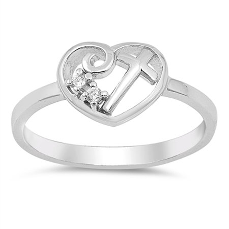 White CZ Heart Cross Promise Ring .925 Sterling Silver Christian Band Size